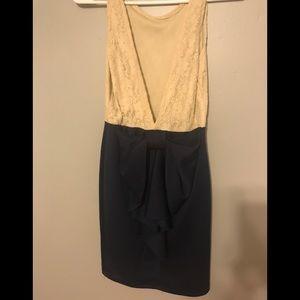 Dresses - Beige lace high low tank